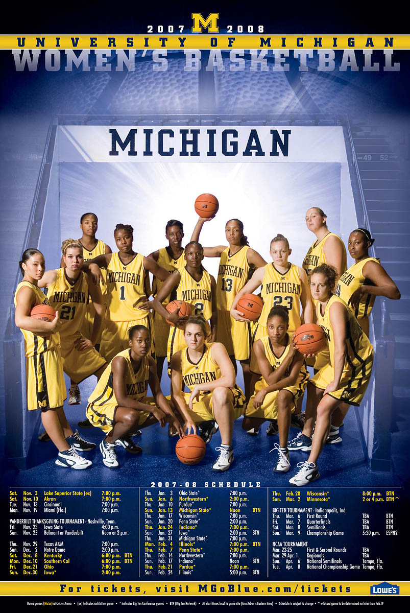 University of Michigan women's basketball schedule poster